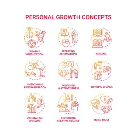 Personal growth concept icons set