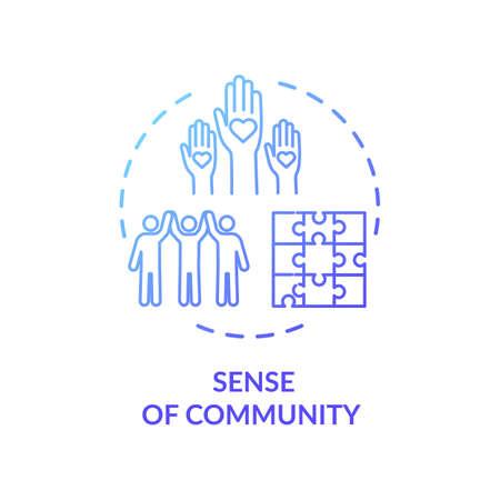 Sense of community blue concept icon