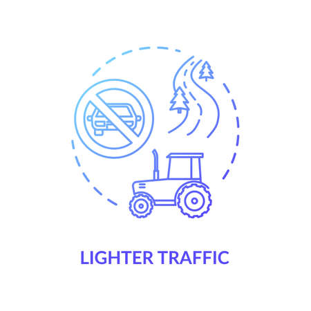 Lighter traffic blue concept icon. No automobile adn vehicles. Empty road and street. Countryside transportation idea thin line illustration. Vector isolated outline RGB color drawing