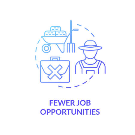 Fewer job opportunities blue concept icon. Unemployment in village. Farmer work problem. Jobless man. Country living idea thin line illustration. Vector isolated outline RGB color drawing Illustration