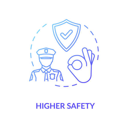Higher safety blue concept icon