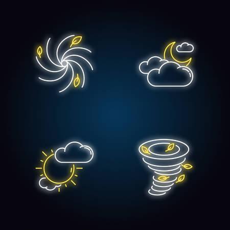 Meteorological warning neon light icons set