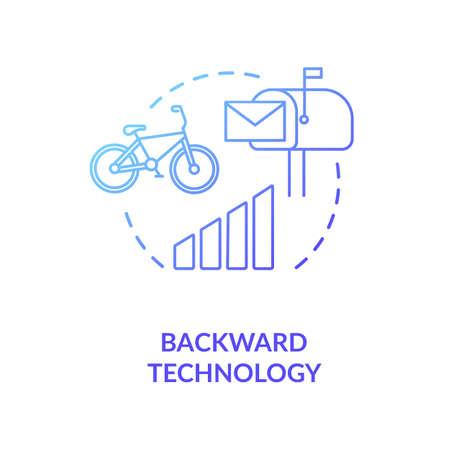 Backward technology blue concept icon Illusztráció