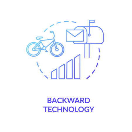 Backward technology blue concept icon Ilustração