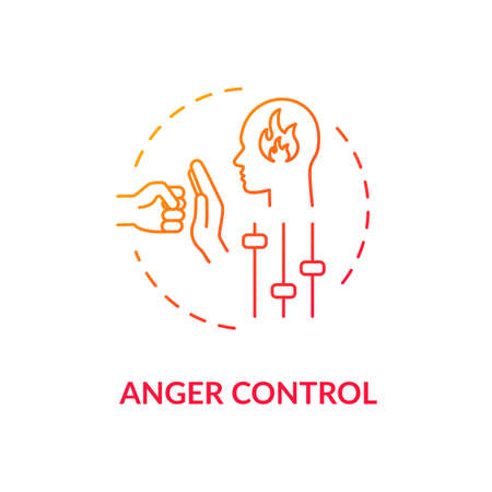 Anger control concept icon Vector Illustration