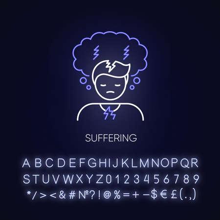 Suffering neon light icon