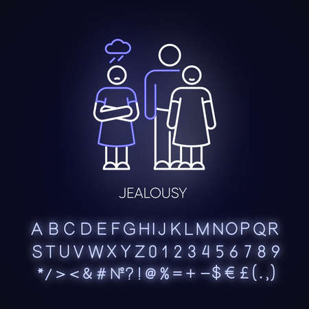 Jealousy neon light icon. Betrayal in romantic relationship. Conflict between man and woman. Outer glowing effect. Sign with alphabet, numbers and symbols. Vector isolated RGB color illustration Illustration