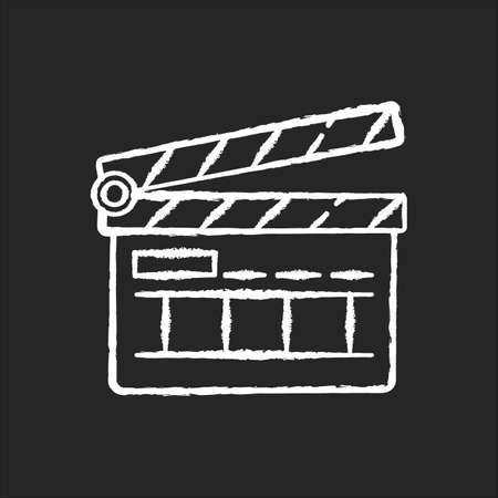 Clapperboard chalk white icon on black background
