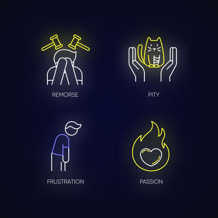 Human emotion neon light icons set. Remorse for psychological healing. Feeling of pity and empathy. Emotion of passion. Signs with outer glowing effect. Vector isolated RGB color illustrations