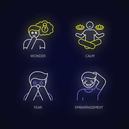 Mental state neon light icons set