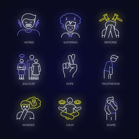 Feeling neon light icons set