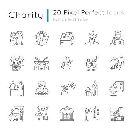 Charity pixel perfect linear icons set Illusztráció