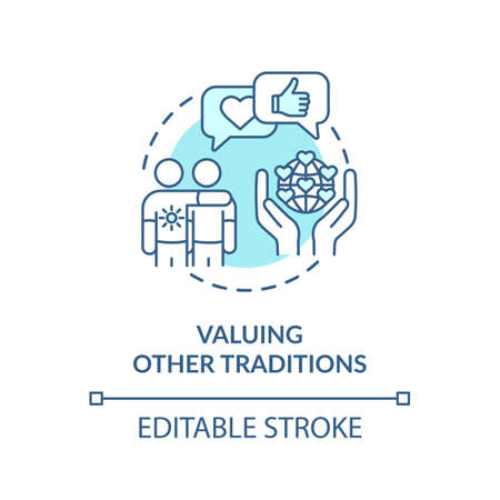 Valuing other tradition turquoise concept icon