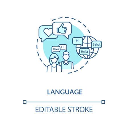 Language turquoise concept icon