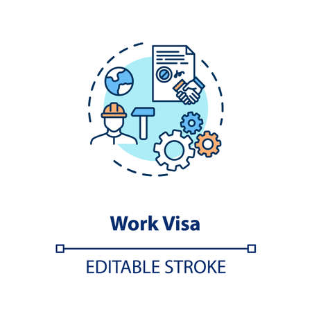 Work visa application concept icon Ilustrace