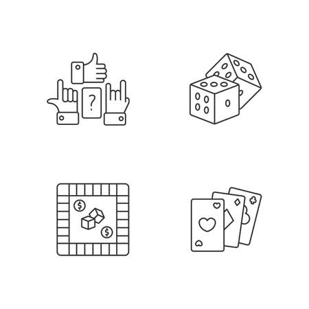 Amusing games pixel perfect linear icons set