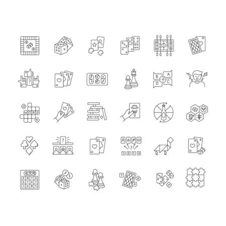 Board games pixel perfect linear icons set