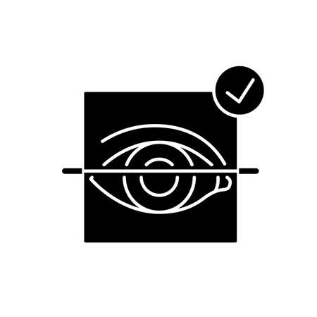 Eye scanner black glyph icon. User identification check. Authorization process. Digital lock. Electronic access. Face recognition. Silhouette symbol on white space. Vector isolated illustration 向量圖像