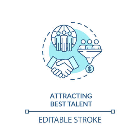 Attracting best talent turquoise concept icon. International recruitment. Multi national group. Multi cultural idea thin line illustration. Vector isolated outline RGB color drawing. Editable stroke