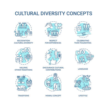 Cultural diversity turquoise concept icons set. Respect for different nationality. Multi ethnic equality idea thin line RGB color illustrations. Vector isolated outline drawings. Editable stroke