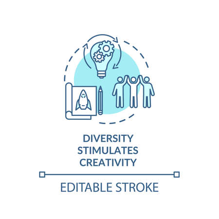 Diversity stimulates creativity turquoise concept icon