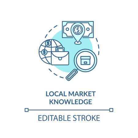 Local market knowledge turquoise concept icon Иллюстрация
