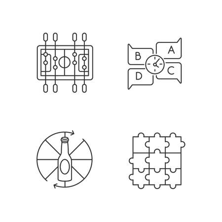 Friendly party games pixel perfect linear icons set