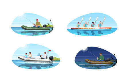 Boat types for activity semi flat vector illustration set. Teamwork for canoe competition. Family relax on speedboat. Man fishing with rod. Hobby 2D cartoon characters for commercial use
