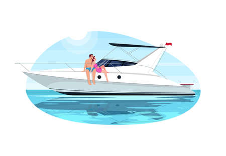 Couple on voyage semi flat vector illustration. People sail in ocean on private regatta. Man and woman relax on luxury boat. Summer recreation 2D cartoon characters for commercial use