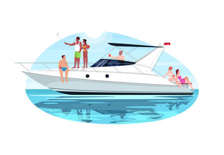 Multi racial group on voyage semi flat vector illustration. People sail in ocean on private regatta. Man and woman relax on luxury boat. Multi cultural 2D cartoon characters for commercial use Иллюстрация
