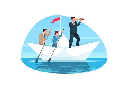 Corporate teamwork semi flat vector illustration. Company management. Team cooperation with leader. Executive boss motivate group. Business people 2D cartoon characters for commercial use