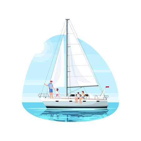 Family on regatta semi flat vector illustration. Man with daughter on boat. Mother with son on ship. Private yacht for voyage. Summer recreation 2D cartoon characters for commercial use Иллюстрация
