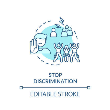 Stop discrimination turquoise concept icon