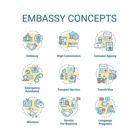 Embassy concept icons set Ilustrace