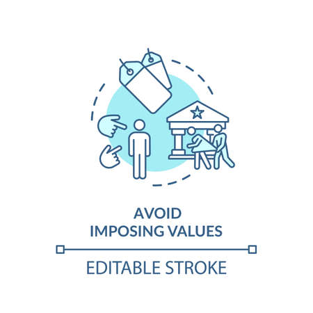 Avoid imposing values turquoise concept icon