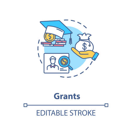 Grants concept icon. Higher education programs. Annual and monthly tuition fee. Academic degree idea thin line illustration. Vector isolated outline RGB color drawing. Editable stroke