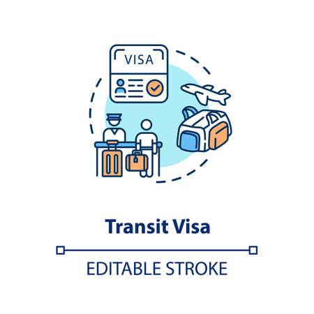 Transit visa concept icon Ilustrace