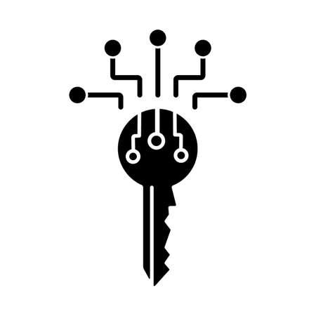 Digital key black glyph icon