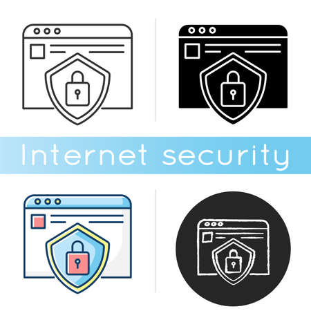 Social network account security icon. Personal Internet page encryption. Data protection. Browser user privacy and safety. Linear black and RGB color styles. Isolated vector illustrations