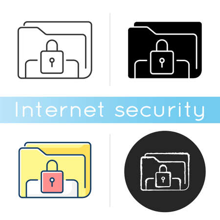 Documents security icon. Personal data encryption. Online file rights. Information protection. Folder electronic lock. Linear black and RGB color styles. Isolated vector illustrations