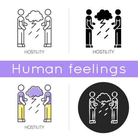 Hostility icon. Aggressive behaviour. Dispute with offended man. Disgust toward enemy. Tense relationship. Psychological issue. Linear black and RGB color styles. Isolated vector illustrations
