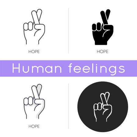 Hope icon. Crossed fingers for luck. Optimistic outlook. Positive mental attitude. Wish of good expectation. Promise for possibility. Linear black and RGB color styles. Isolated vector illustrations