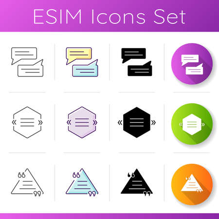 Textbox icons set. Empty group chat and feedback box. Blank speech bubbles. Online communication and notification. Linear, black and RGB color styles. Isolated vector illustrations Ilustracja