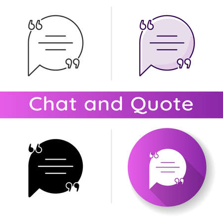 Chat bubble with quotation marks icon. Empty circle box for direct speech. Blank dialogue balloon with text space. Linear black and RGB color styles. Isolated vector illustrations