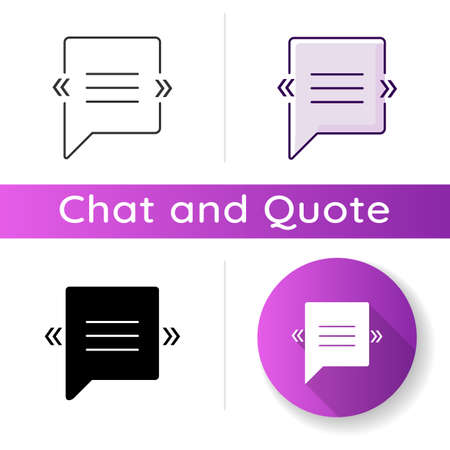 Chat bubble with angle quotes icon. Empty square box for direct speech. Blank dialogue balloon with quotation marks. Linear black and RGB color styles. Isolated vector illustrations