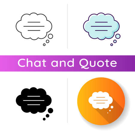 Thought bubble icon. Empty comic speech cloud. Blank dialogue balloon with text space. Comment box with copyspace. Linear black and RGB color styles. Isolated vector illustrations Ilustracja