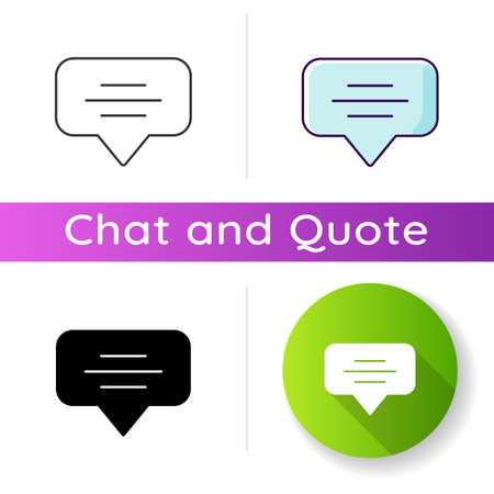 Speech bubble icon. Empty chat cloud. Notification box. Blank dialogue balloon with text space. Comment box with copyspace. Linear black and RGB color styles. Isolated vector illustrations