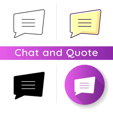 Comment box icon. Empty chat cloud. Notification box. Blank information note with text space. Speech bubble with copyspace. Linear black and RGB color styles. Isolated vector illustrations