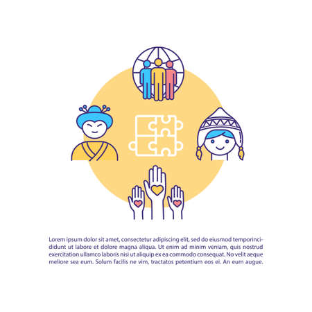 Cultural diversity concept icon with text. International communication. Unity and solidarity. PPT page vector template. Brochure, magazine, booklet design element with linear illustrations