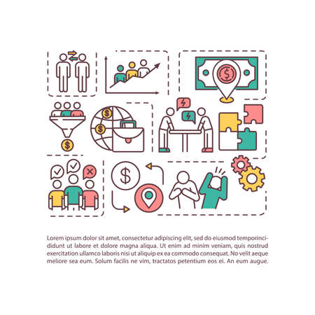Challenge and benefit of multiculturalism concept icon with text. Multi racial team work productivity. PPT page vector template. Brochure, magazine, booklet design element with linear illustrations
